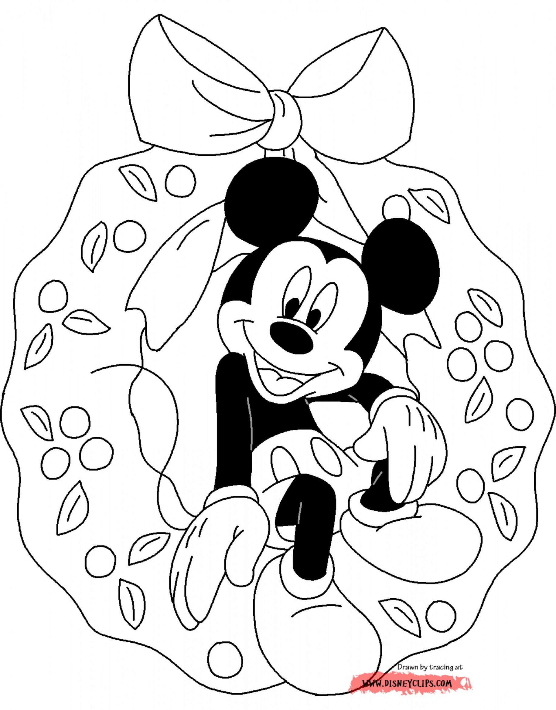 Vector Mickey Mouse Christmas: Christmas Mickey Mouse Coloring Pages C