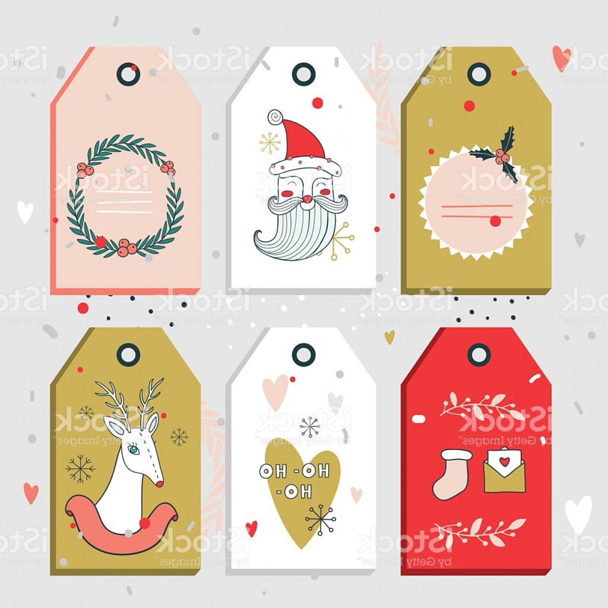 Gift Tags Vector Art: Christmas New Year Gift Tags Collection Gm