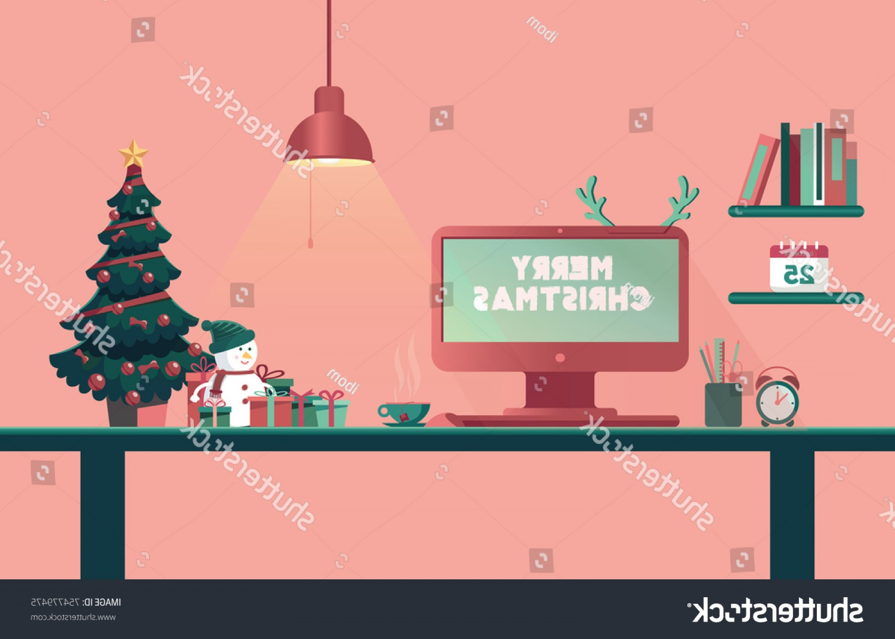 Happy Workplace Anniversary Vector: Christmas Office Desk New Year Workplace