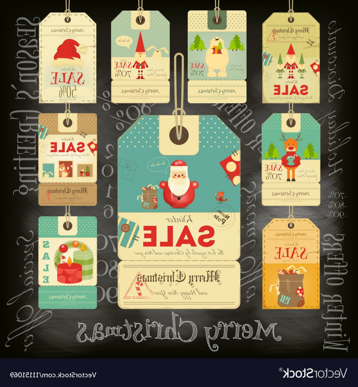 Vintage Xmas Sale Tag Vector: Christmas Sale Tags In Vintage Style Vector
