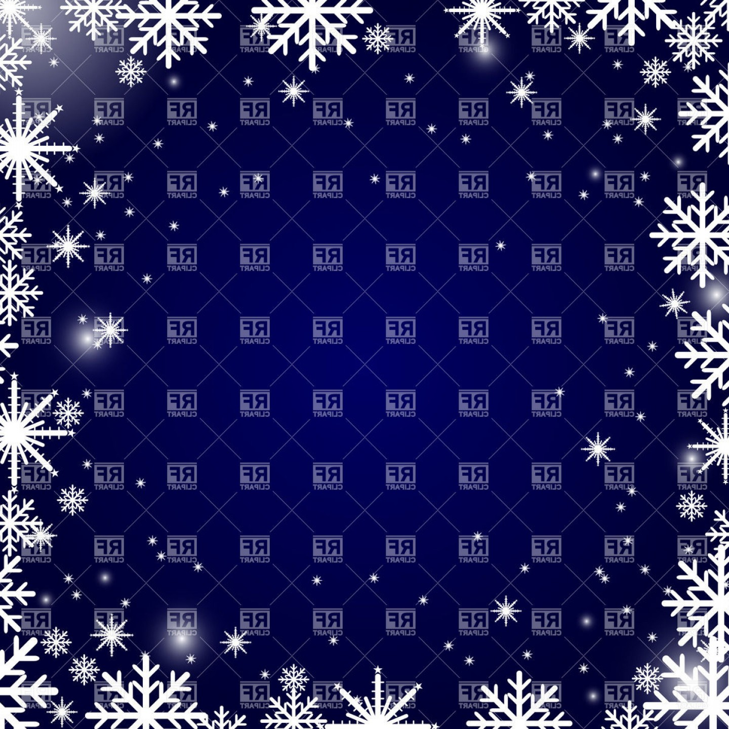 Snowflake Border Vector Art: Christmas Snowflakes Frame Blue Background Vector Clipart