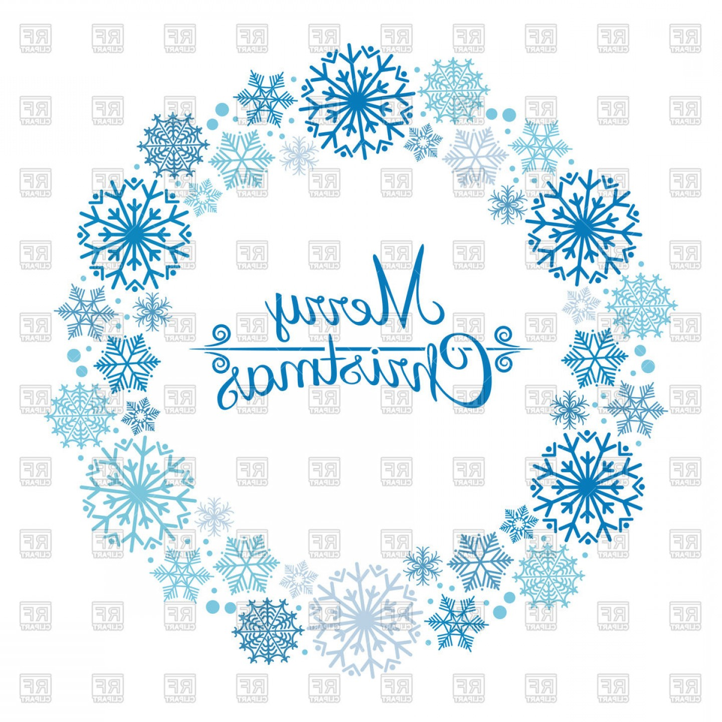 Vector Snowflake Wreath: Christmas Snowflakes Wreath Vector Clipart