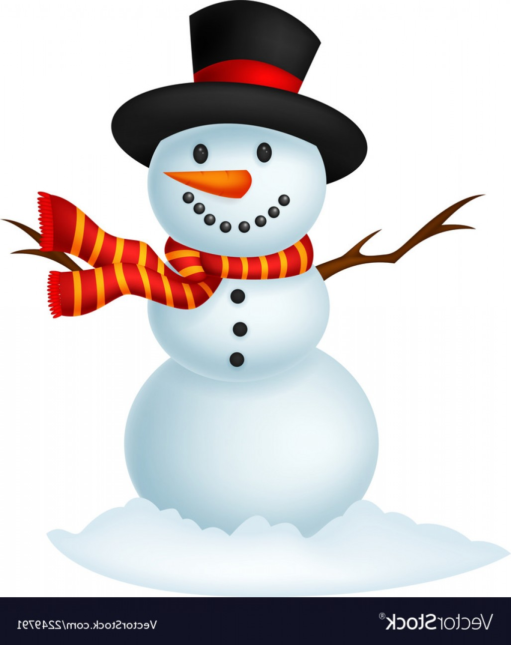 No Hat With Snowman Vector: Christmas Snowman Cartoon Wearing A Hat And Red Sc Vector