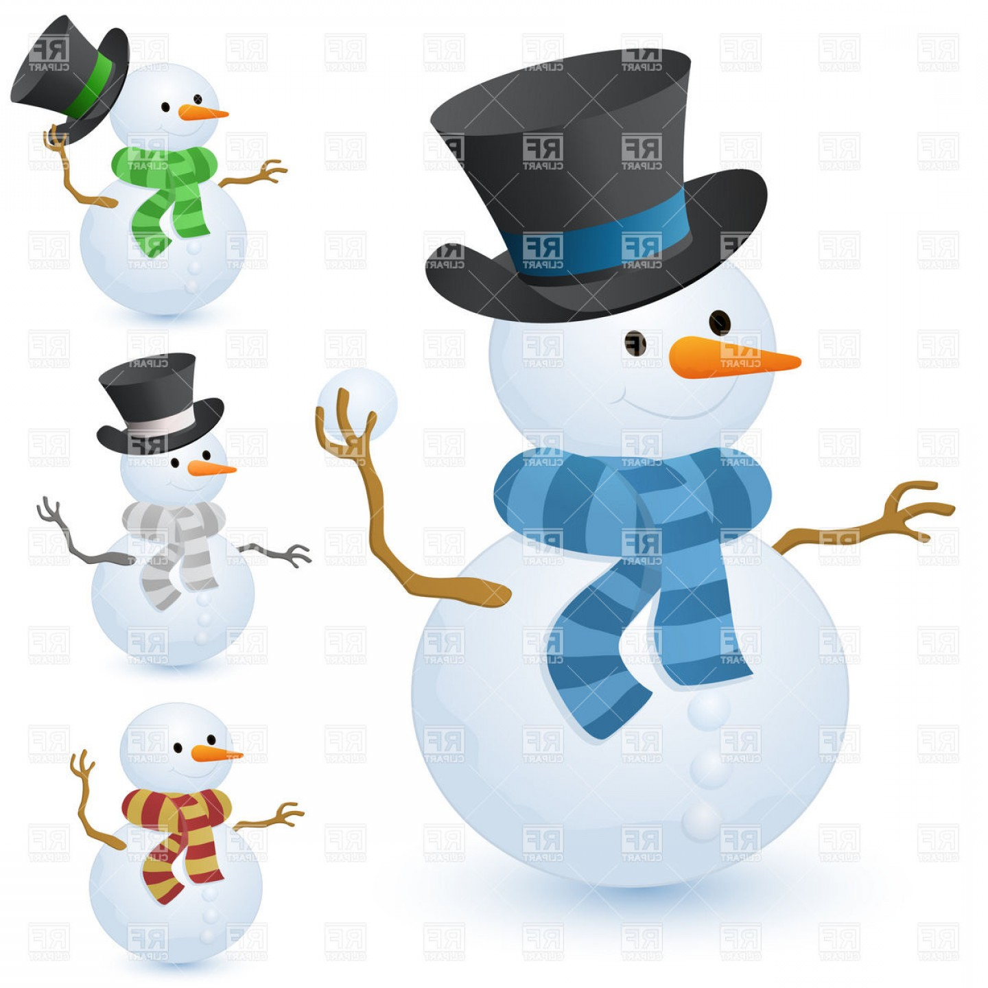 No Hat With Snowman Vector: Christmas Snowman With Top Hat Vector Clipart