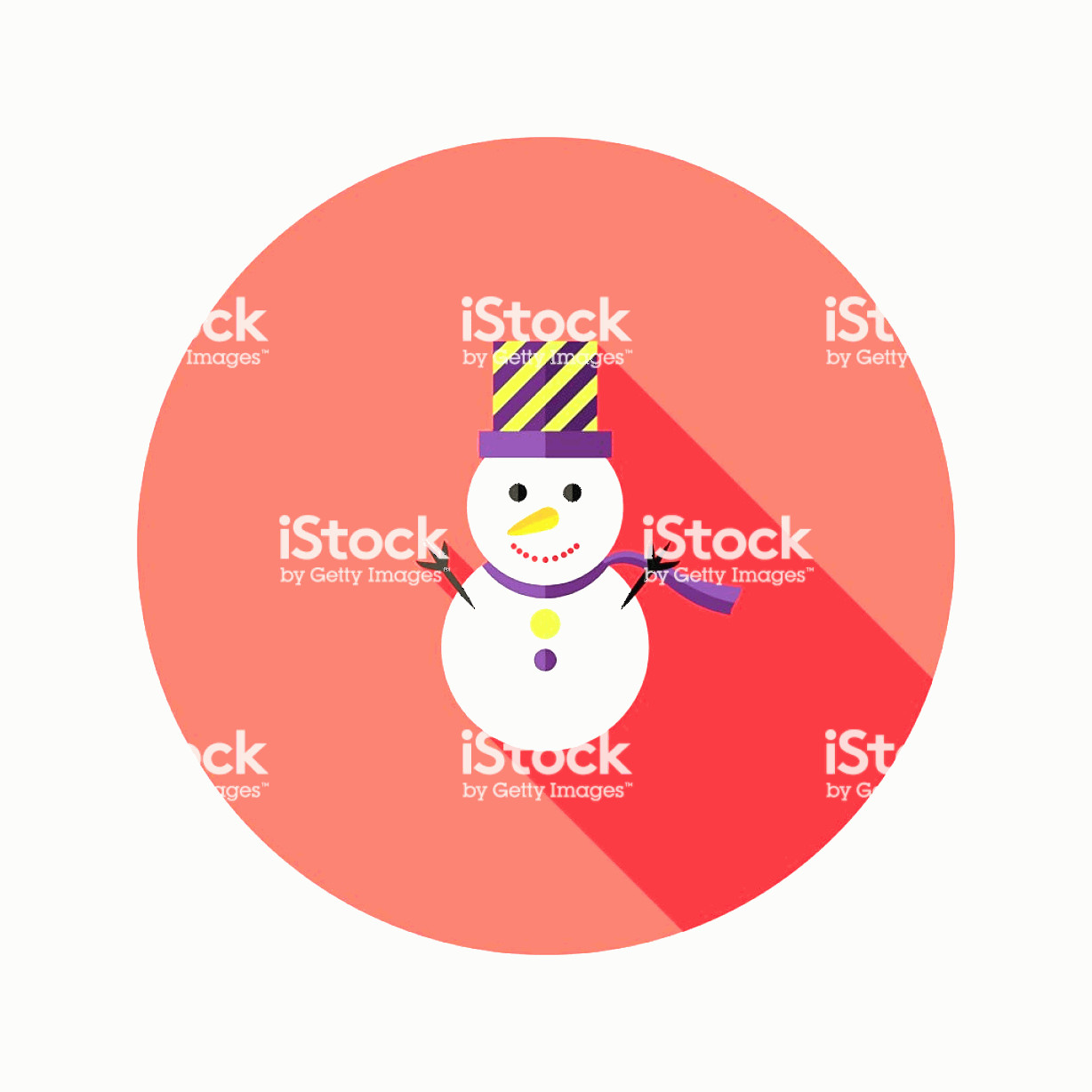 Vector Christmas Toppers: Christmas Snowman With Topper Hat Flat Icon Gm