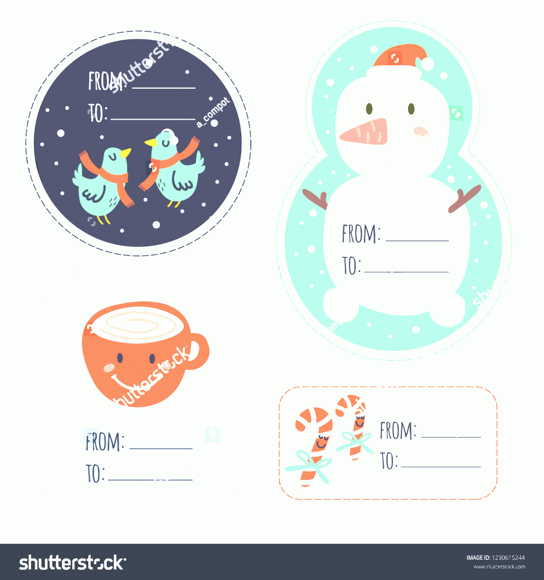 Vector Christmas Toppers: Christmas Stickers Funny Elements Snowflake Snowman