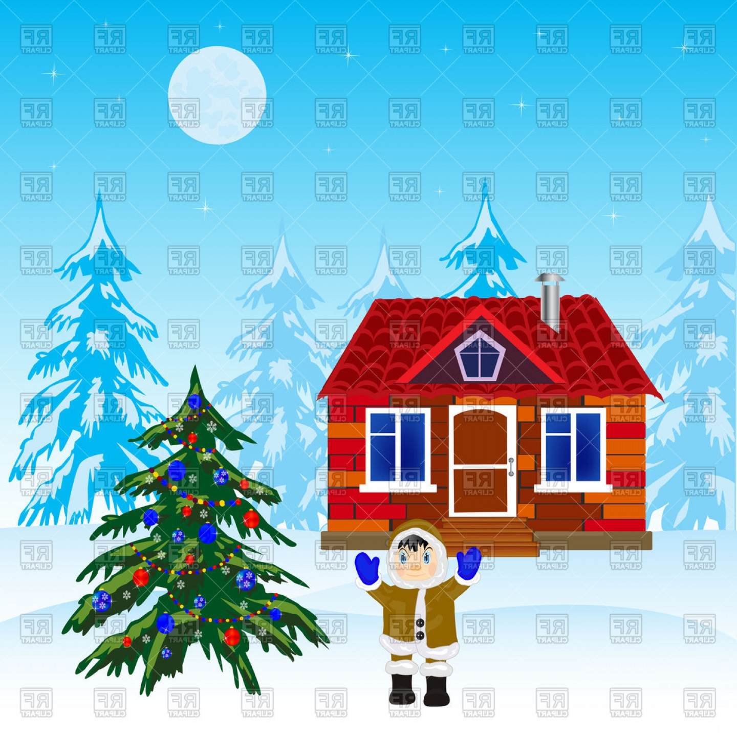 Christmas Tree And House In Winter Wood Vector Clipart