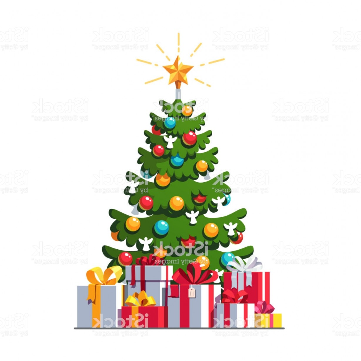 Christmas Tree Art Large Vector Format: Christmas Tree Decorated With Baubles And Shining Star Big Pile Of Wrapped Gift Gm