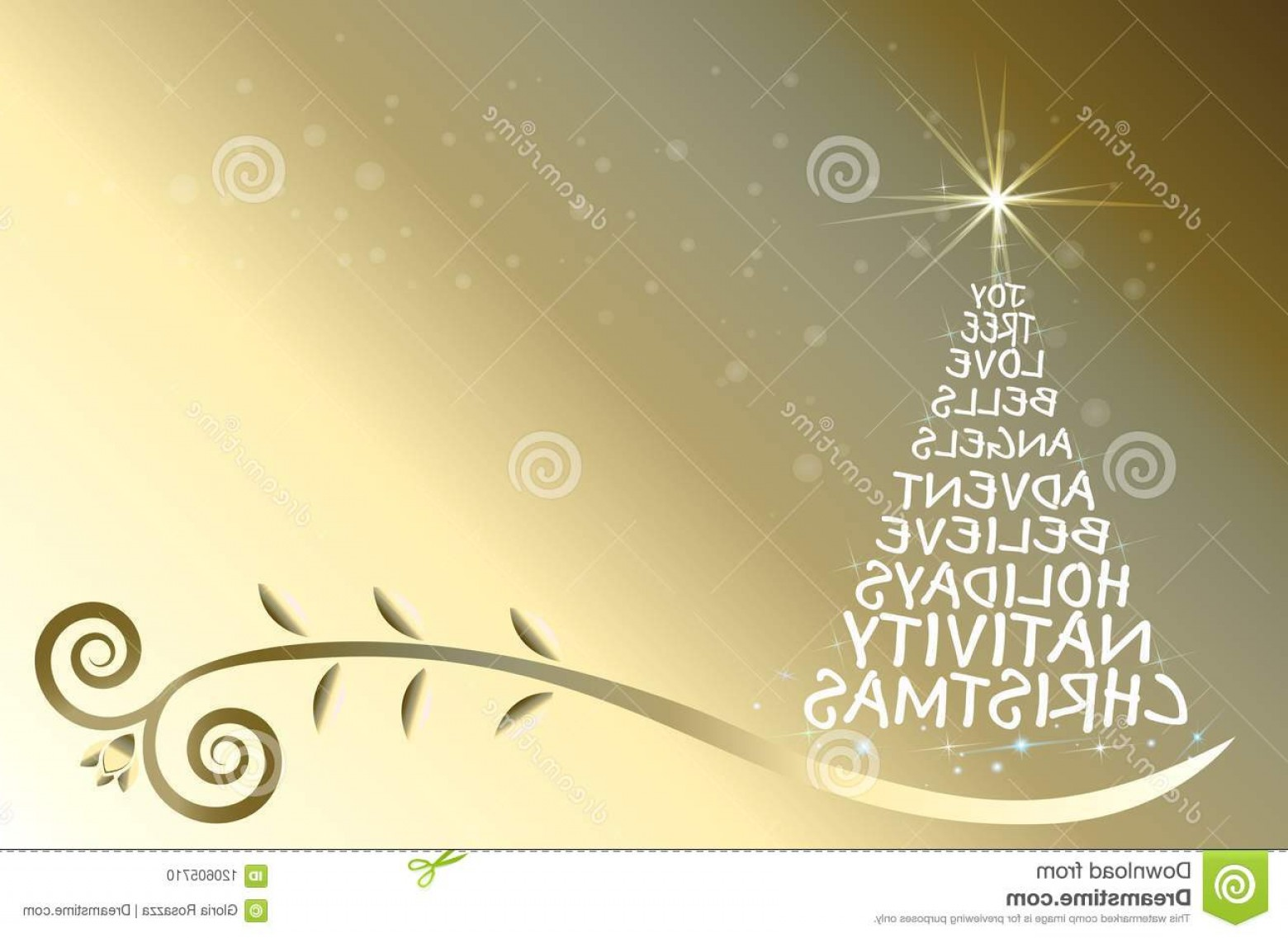 Swirly Christmas Tree Vector: Christmas Tree Gold Greetings Card Vector Words Shine Star Color Swirly Leaf Bubbles Image Image