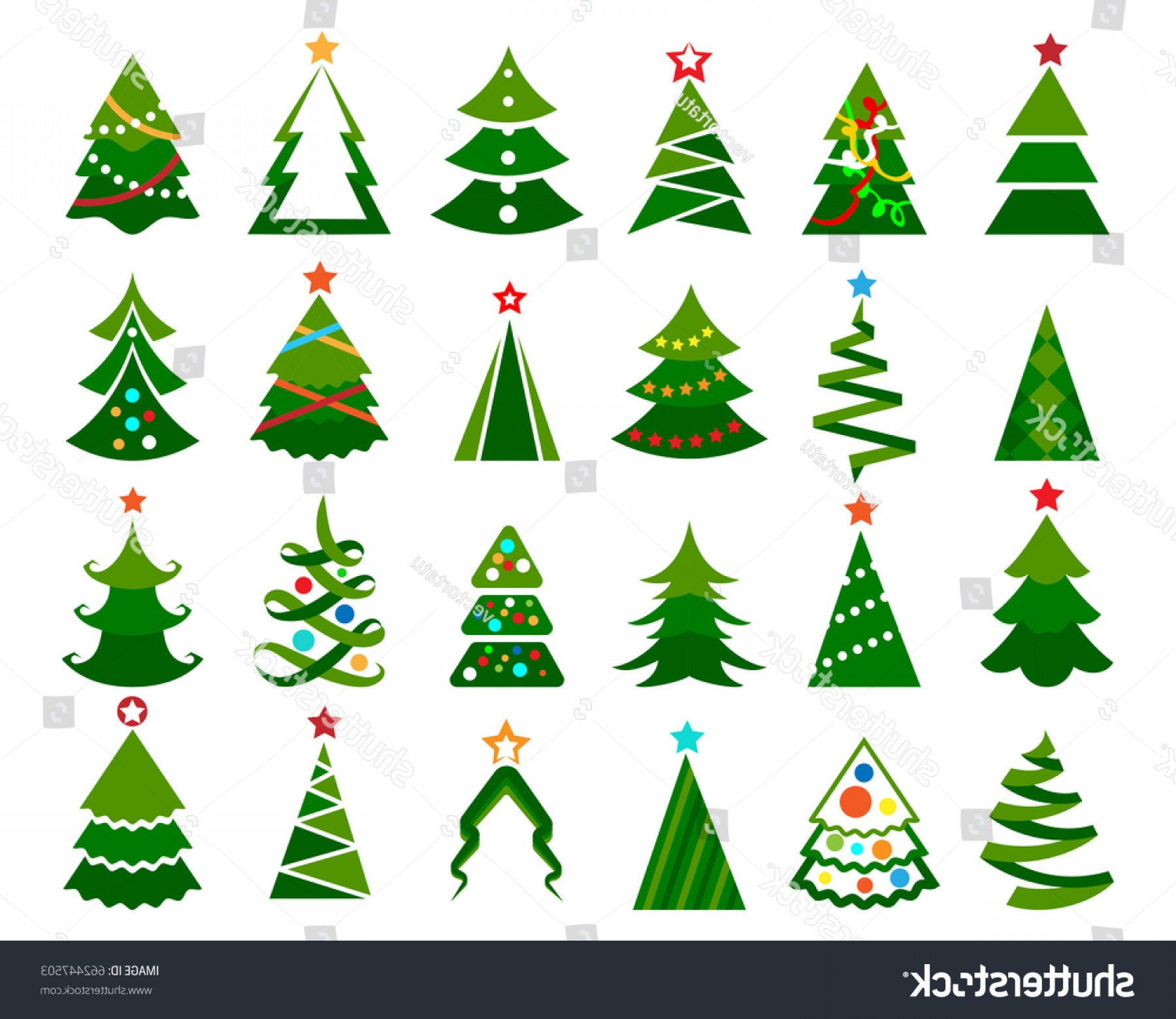 Christmas Tree Art Large Vector Format: Christmas Tree Vector Set Cartoon Colored