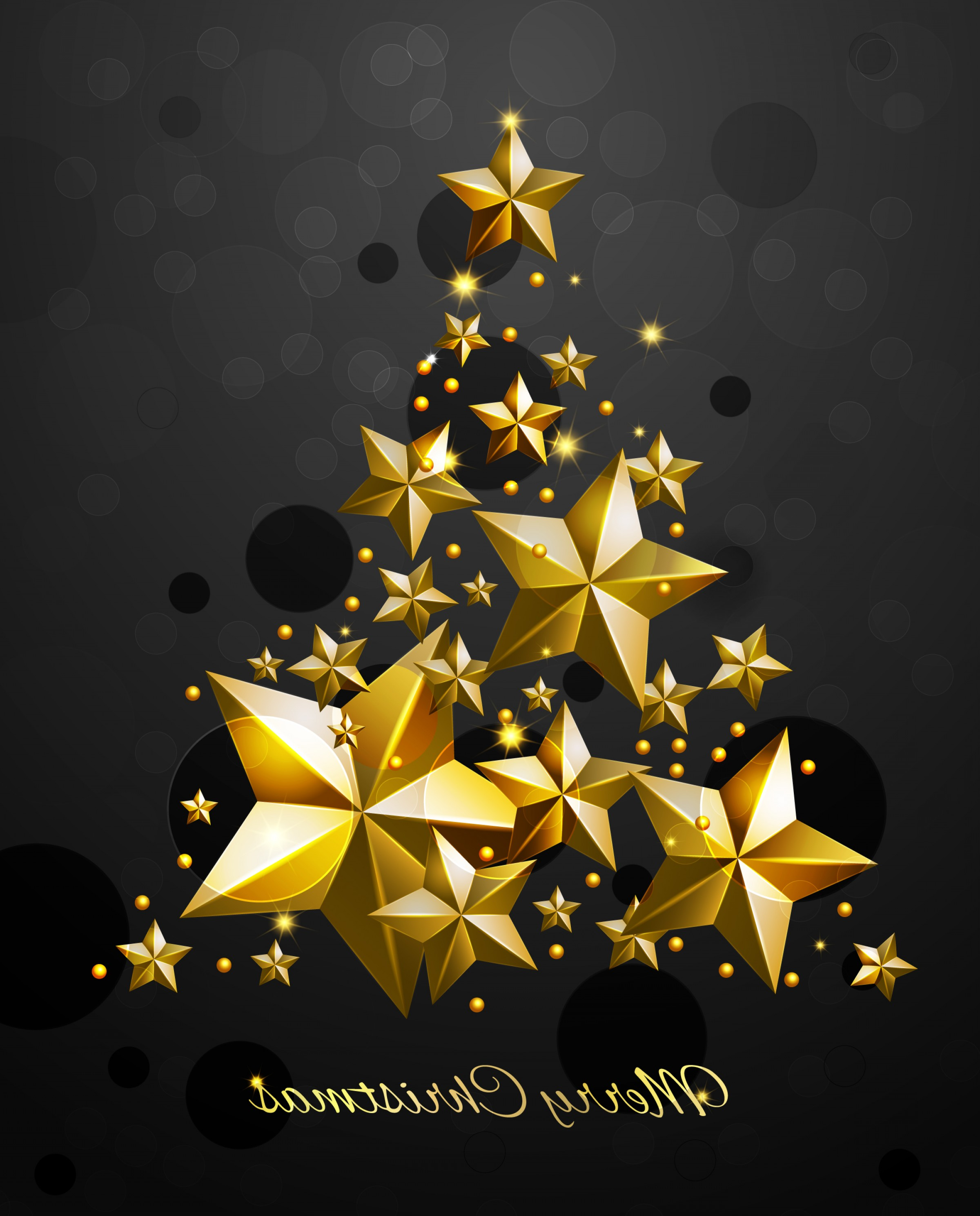 Stars Yellow Christmas Vector: Christmas Tree With Gold Stars