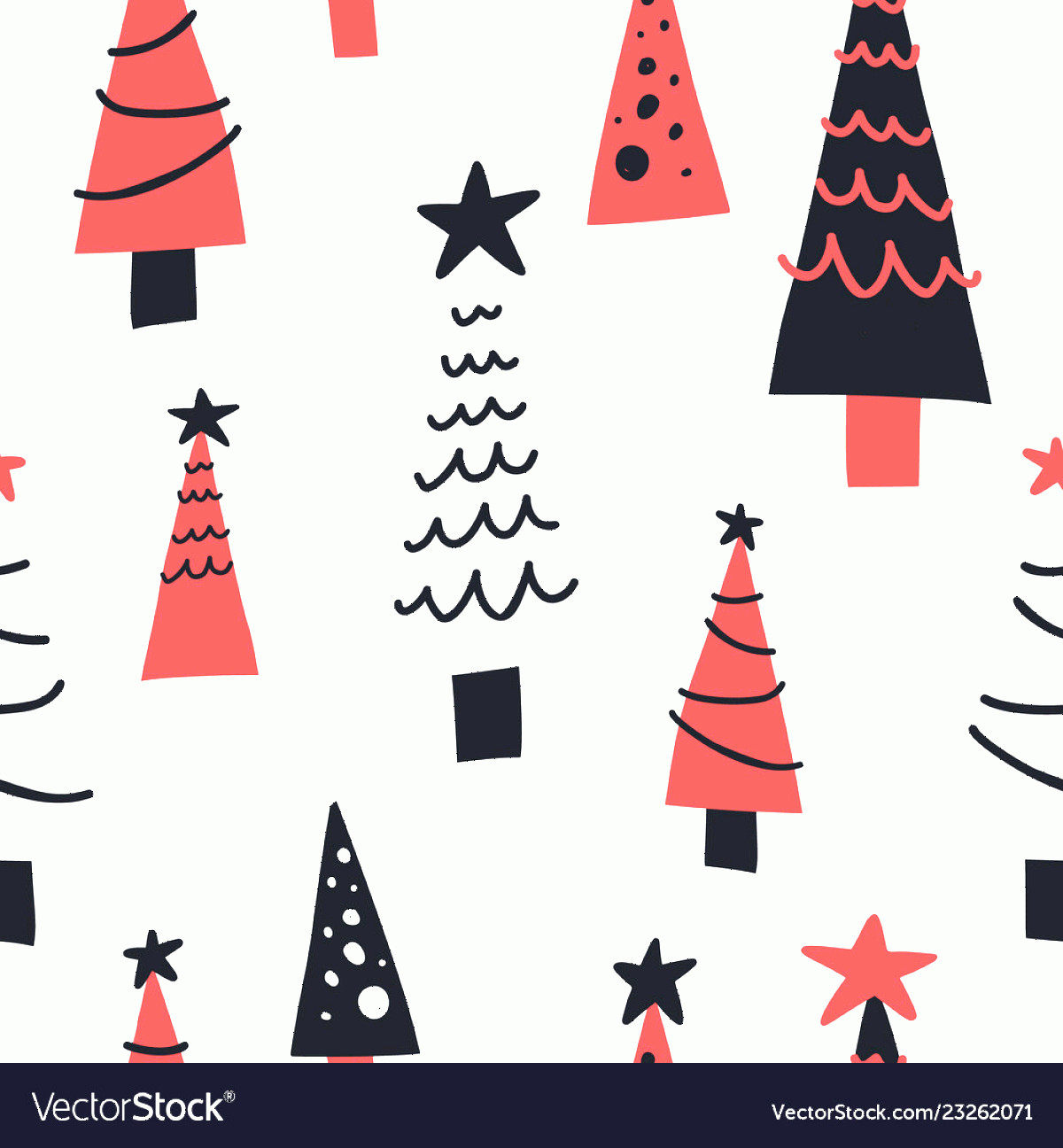 Vector Christmas Toppers: Christmas Trees Hand Drawn Seamless Pattern Vector