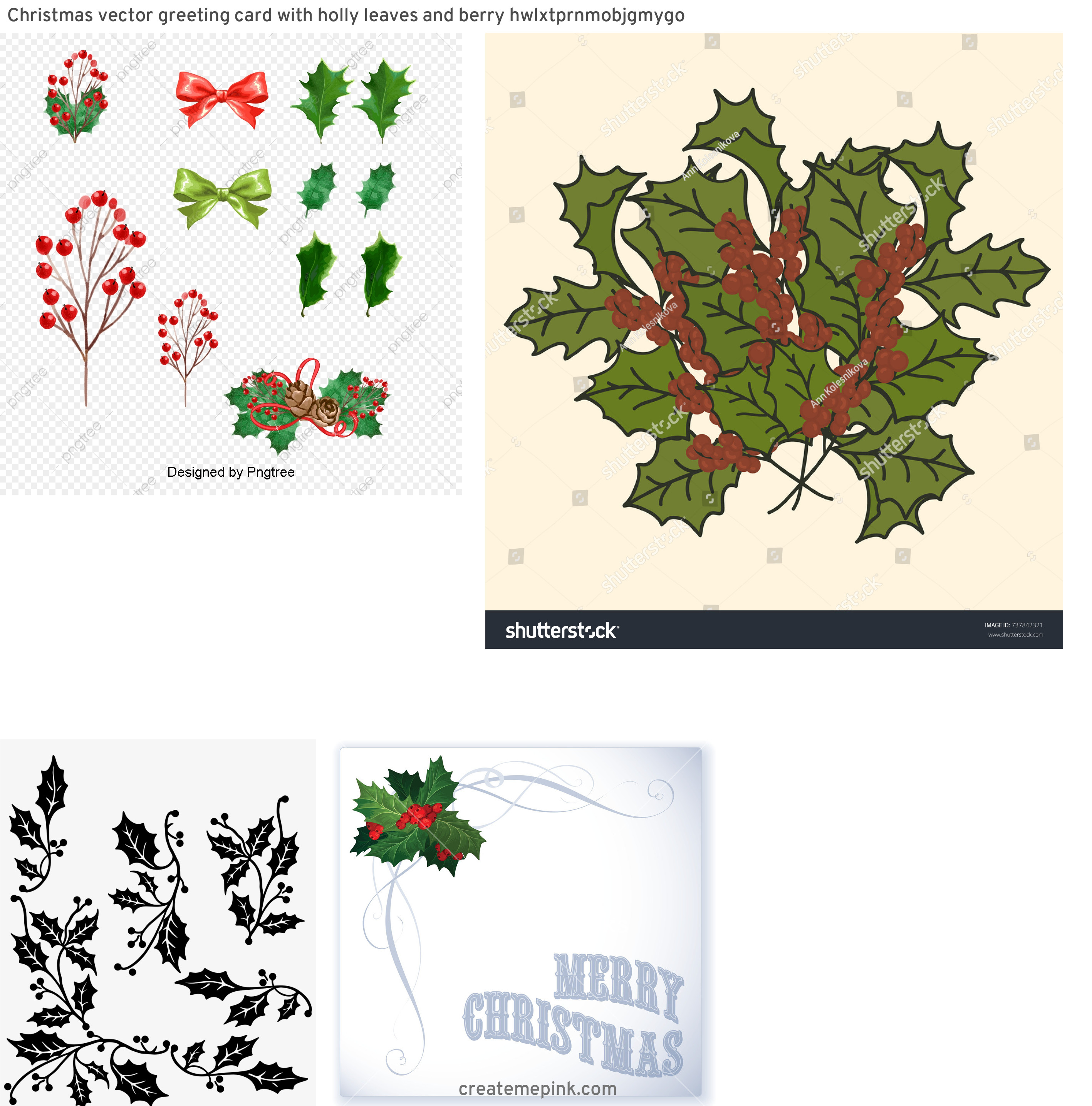 Vintage Look Holly Leaves Vector: Christmas Vector Greeting Card With Holly Leaves And Berry Hwlxtprnmobjgmygo