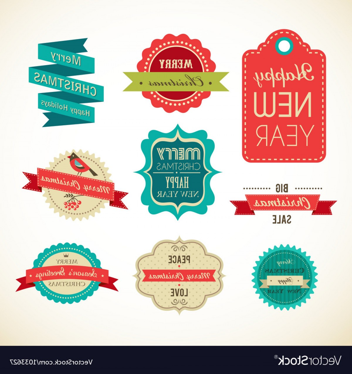 Vector Lables: Christmas Vintage Labels Elements And Vector