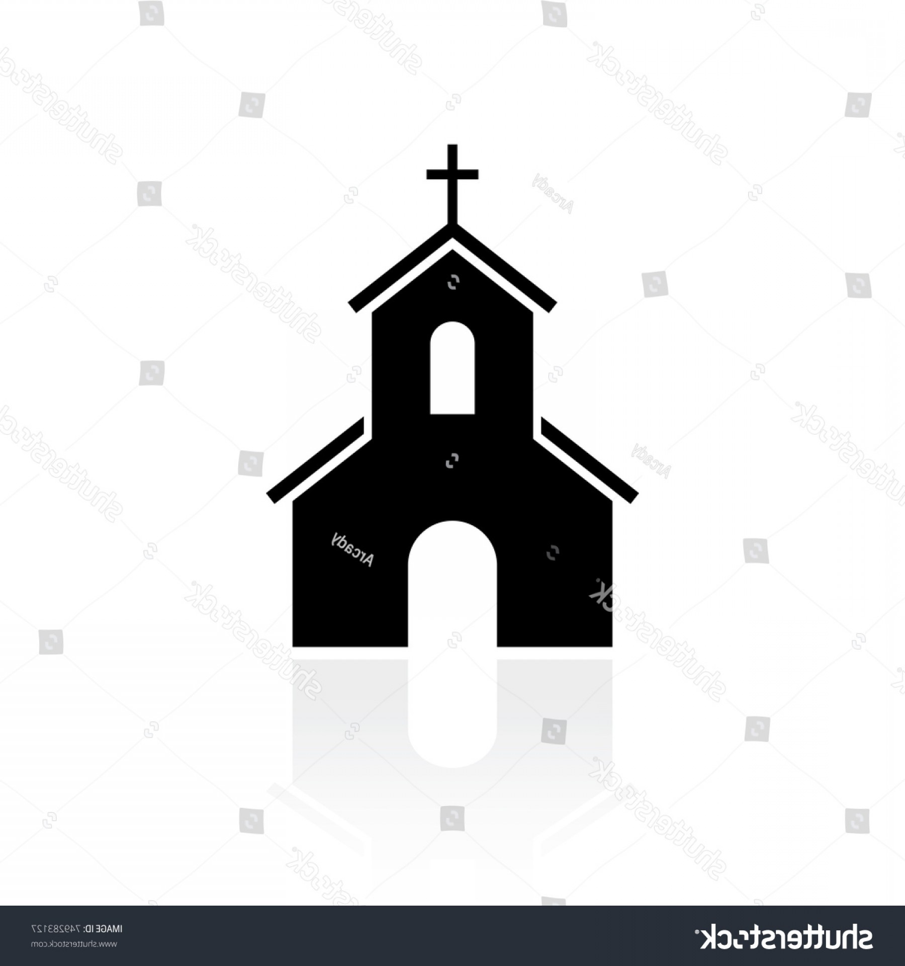 Church Silhouette Vector: Church Black Silhouette Vector Sign On