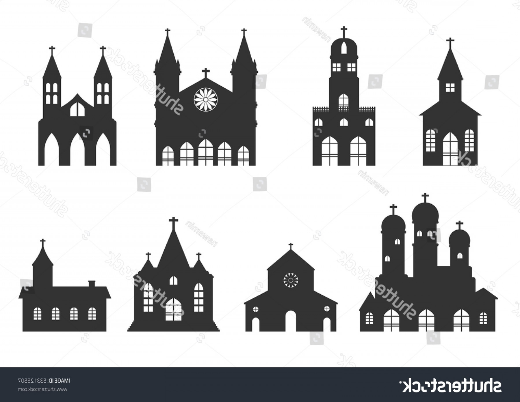 Church Silhouette Vector: Church Building Icon Vector Christian Religion