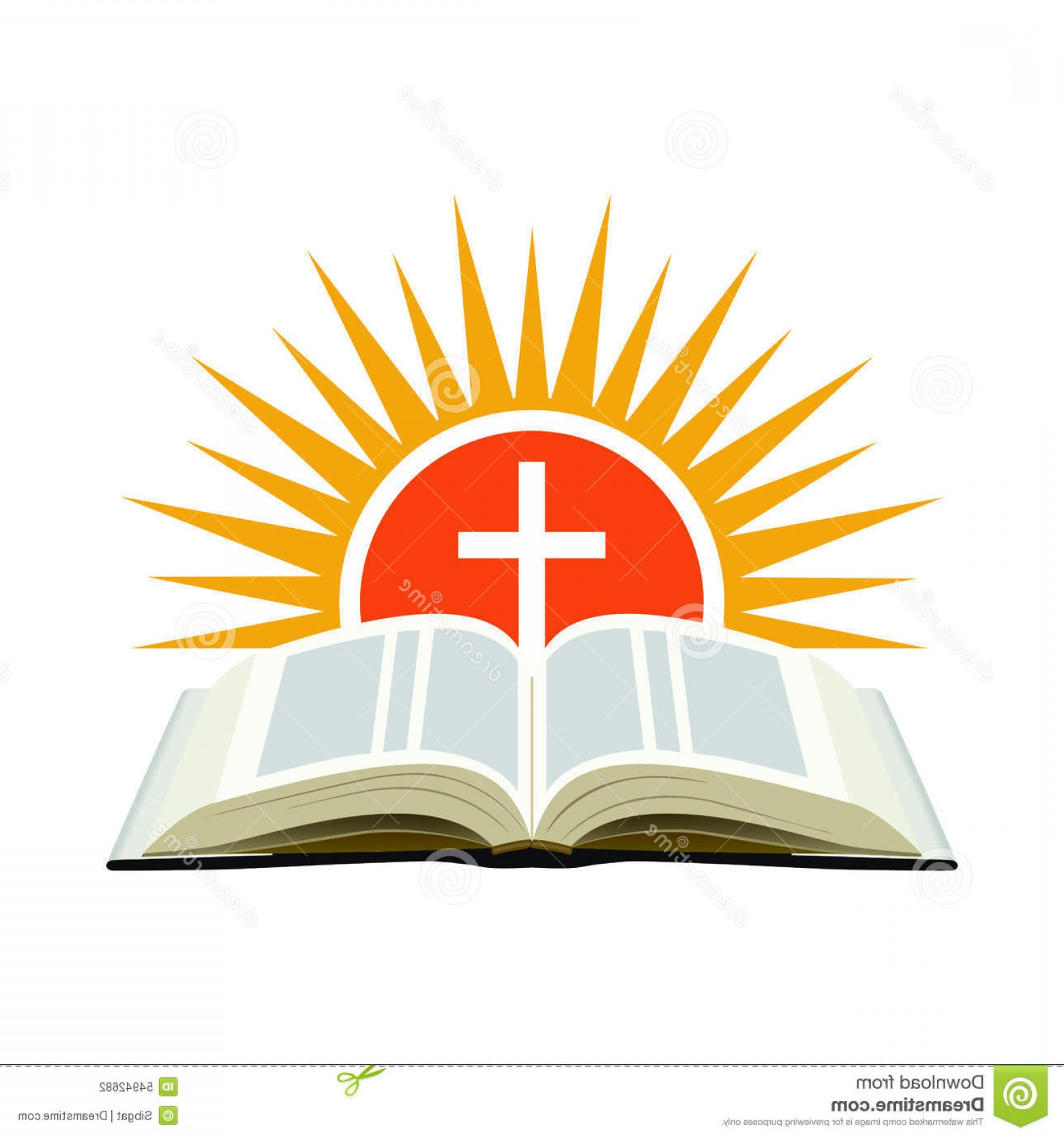 Bible Class Background Vector: Church Cross Bible Logo Illustration
