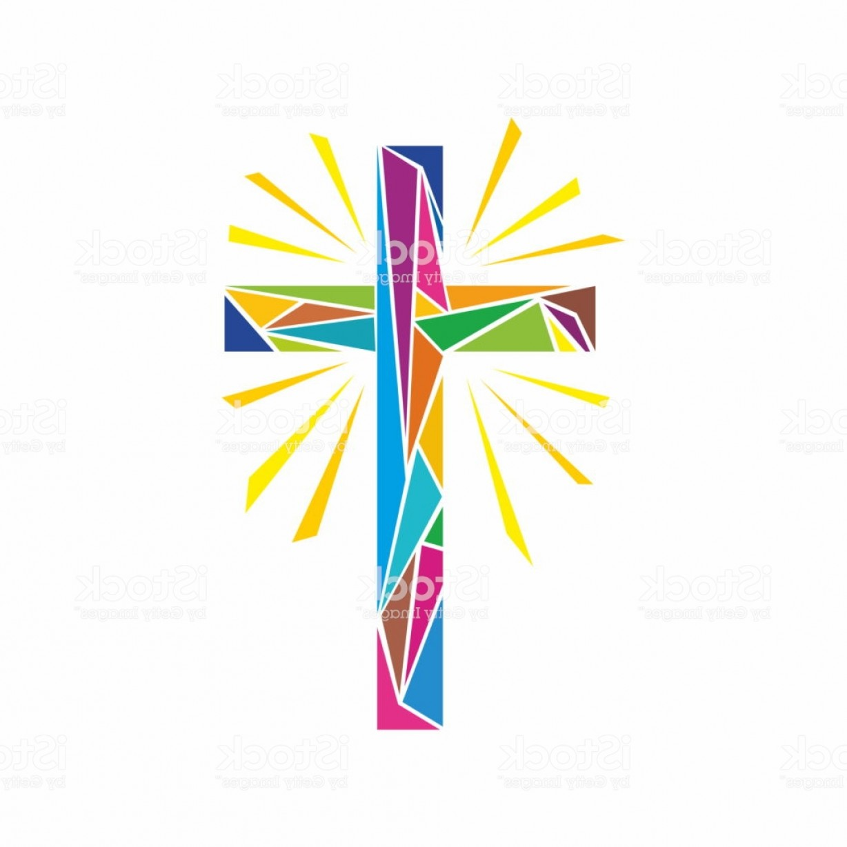 Downloadable Vector Cross: Church Logo Christian Symbols The Cross Of Jesus Christ Made Up Of Multi Colored Gm