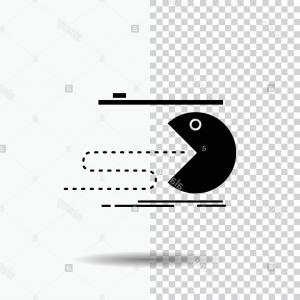 Pacman Vector Silhouette: Character Computer Game Gaming Pacman Glyph Icon On Transparent Background Black Icon Image