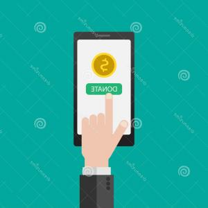 Charity Meter Vector: Charity Donation Donate Money Mobile Phone Online Payment Smartphone Business Finance Eps Vector Illustr Concept Illustration Image
