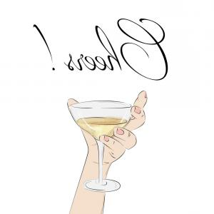 Cocktail Glasses Vector Art Decor: Cheers Cocktail In Hand Woman Holding Glass With Vector