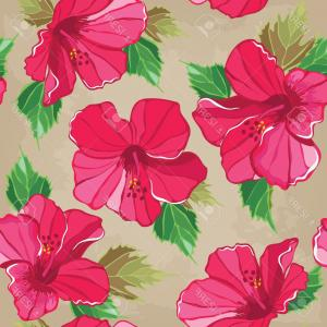 Hawaiian Flower Seamless Vector Pattern: Chic Photofloral Seamless Pattern With Hibiscus Hand Drawing Vector Illustration