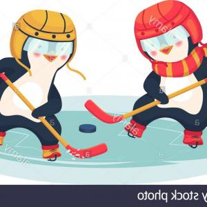Hockey Vector Graphics: Childrens Sports Concept Penguin Play Ice Hockey In The Winter Kids Hockey Vector Illustration Image