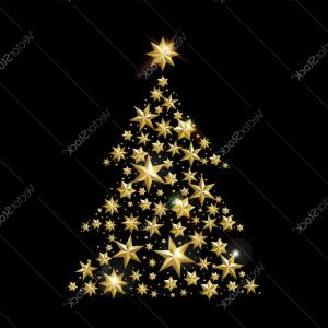 Christmas Tree Card Vector: Christmas And New Year Gold Star Xmas Tree Card Vector