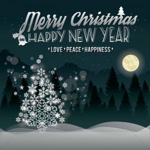Peace Love And Christmas Vector: Christmas And New Year Greeting
