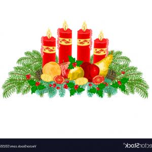 Advent Wreath Vector: Advent Wreath With Burning Candles Vector