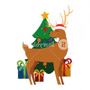 Deer AMD Tree Vector: Christmas Deer And Tree Gifts Decoration Vector Illustration Sjwgrpznjtjktcf