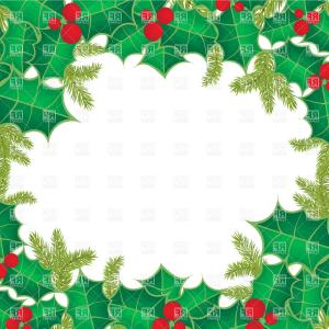 Holly Berry Vector Border: Christmas Frame Of Holly Berry Leaves Vector Clipart