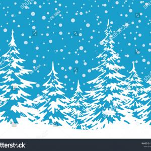 Snow White Silhouette Vector: Christmas Holiday Seamless Horizontal Background Winter