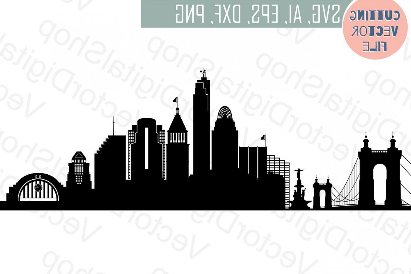 City Vector: Cincinnati Svg Ohio City Vector Skyline Silhouette Usa City Svg Jpg Png Dwg Cdr Eps Ai