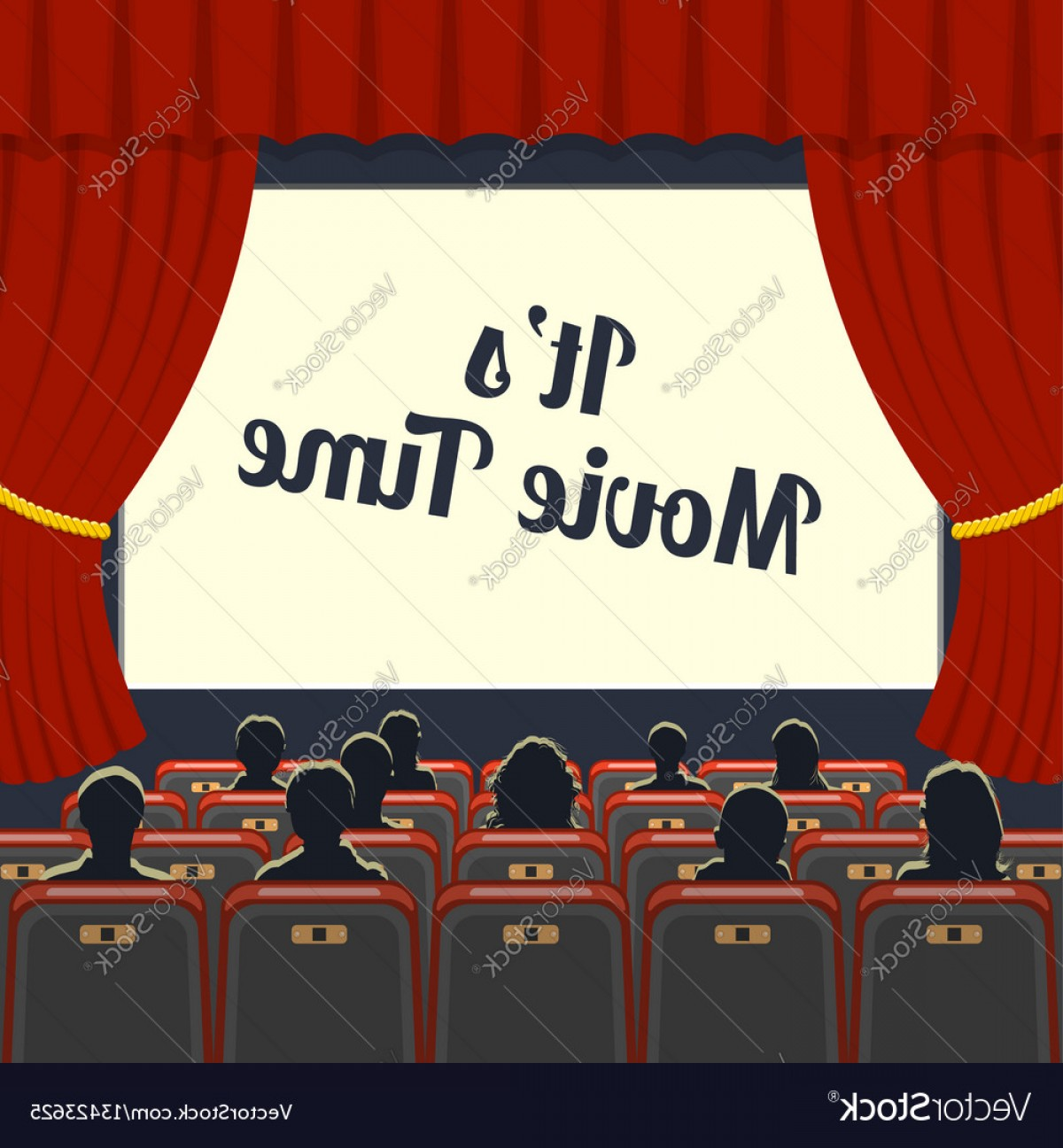 Vector Stage Audience: Cinema Auditorium With Seats And Audience Vector