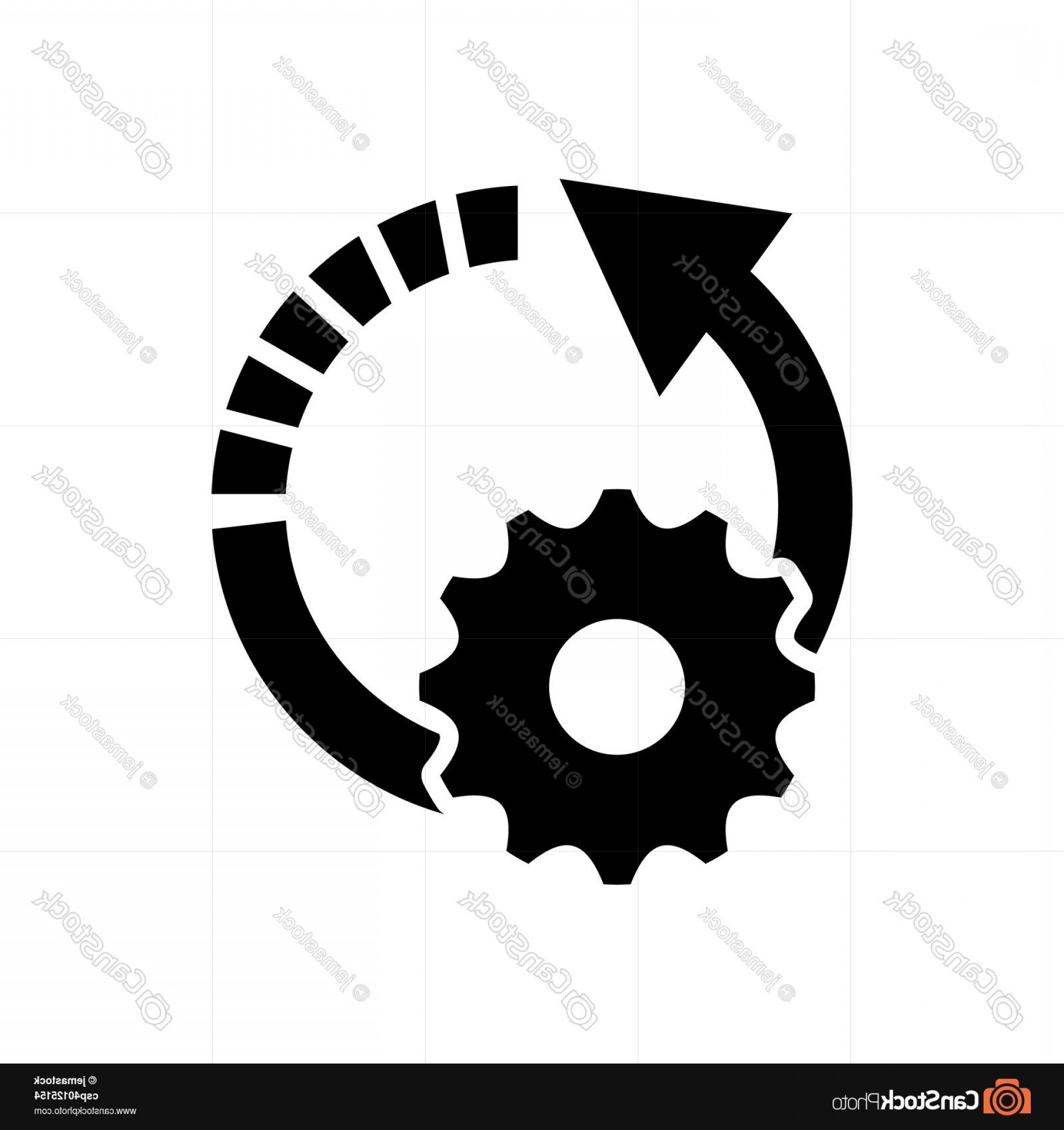 Vector Gear Graphics: Circle Arrow And Gear Icon