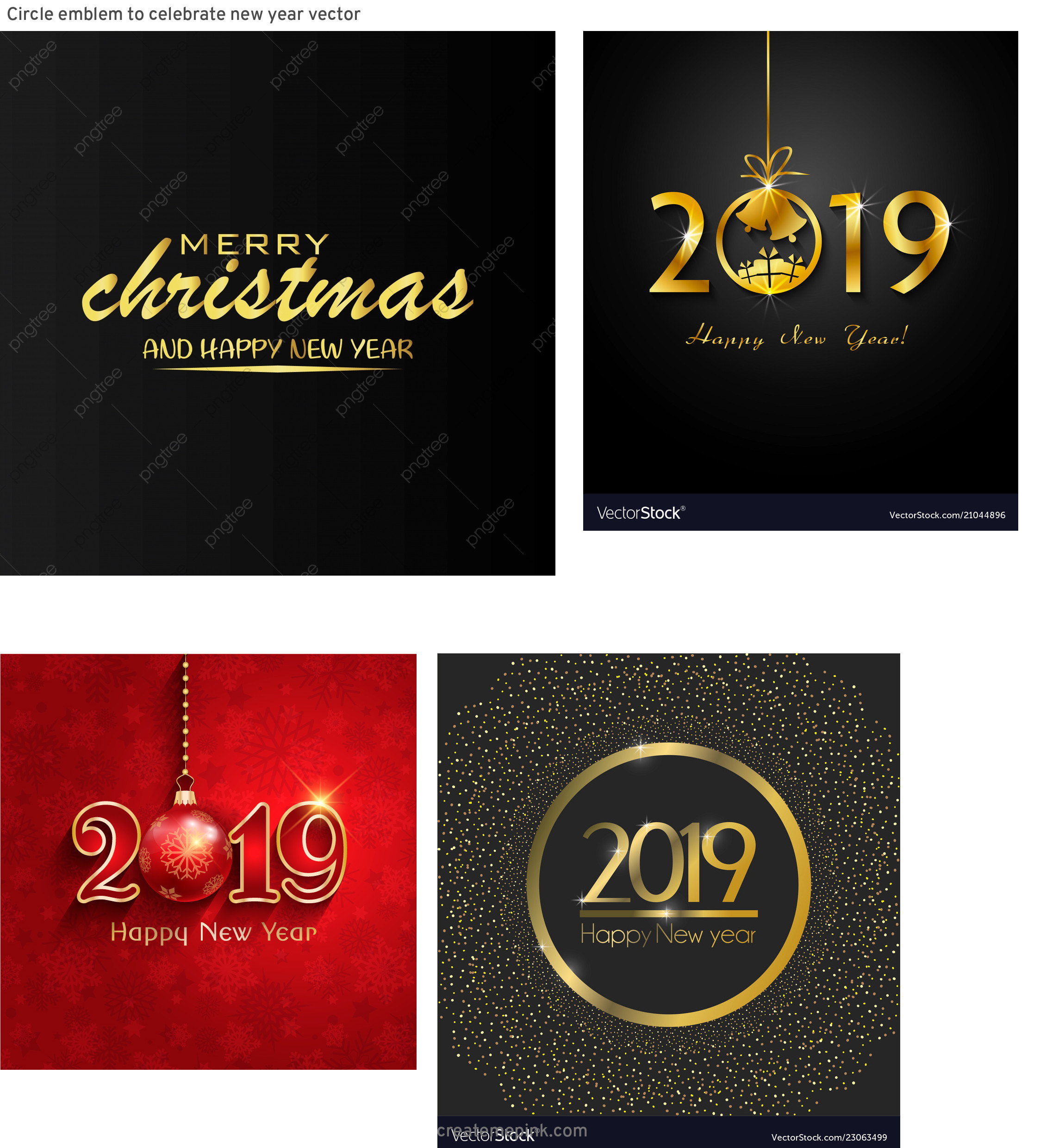 Free New Year Vector: Circle Emblem To Celebrate New Year Vector