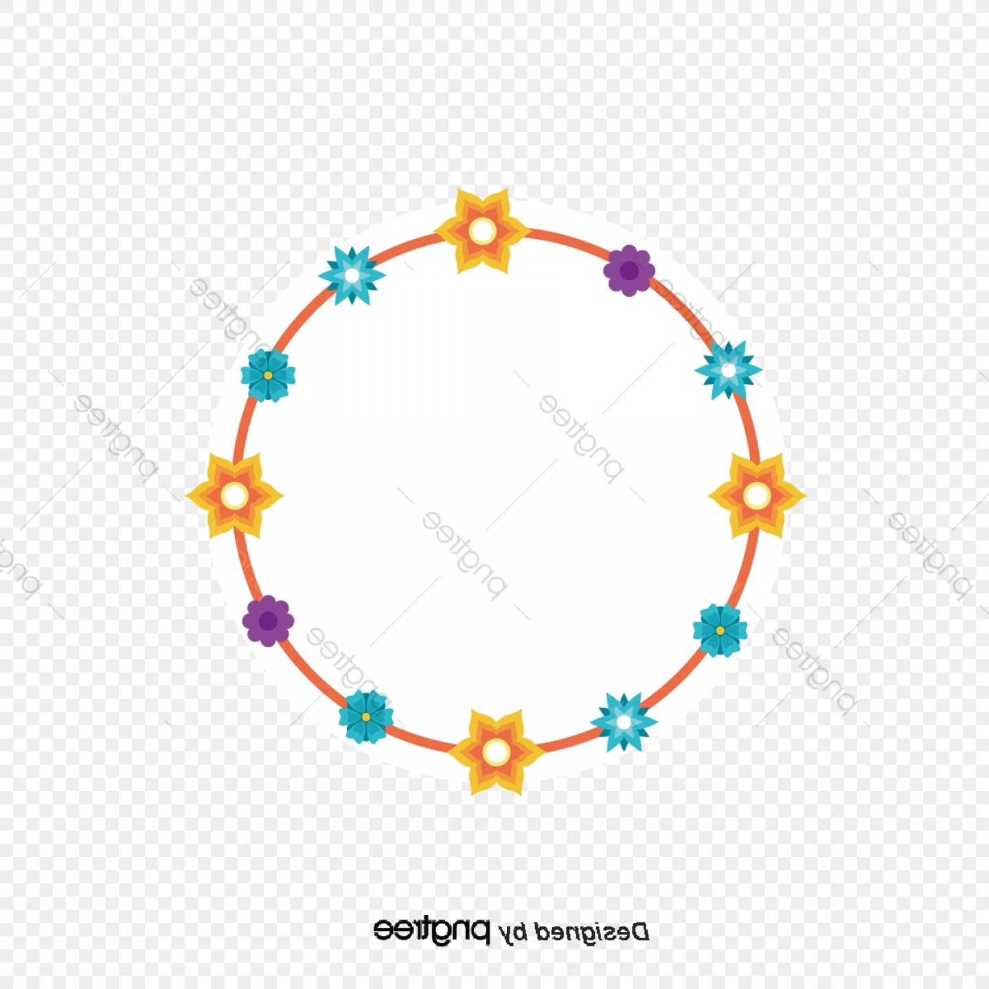 Blue And Orange Circle Vector: Circle Of Flowers Orange Sunflower Yellow Blue Flower Surrounded By A Circle