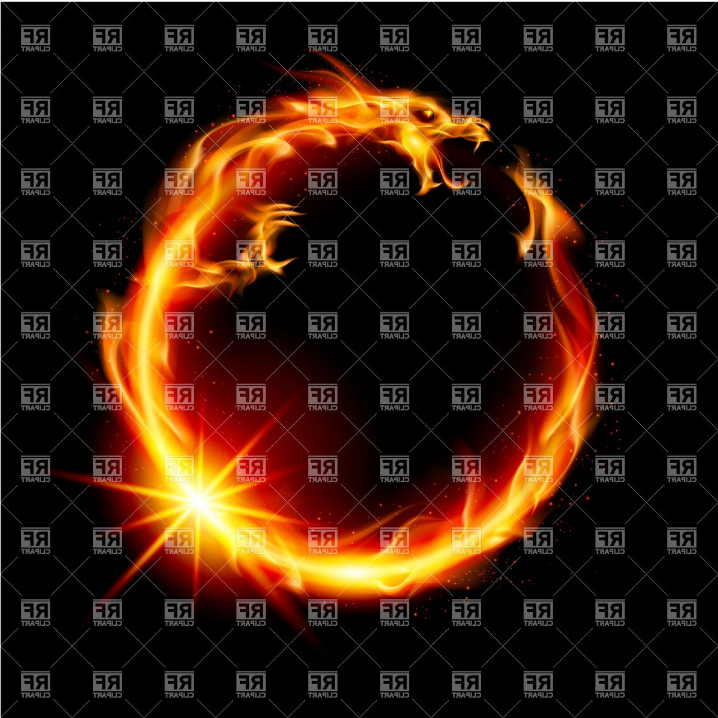Dragon Fire Vector: Circle Shaped Fire Dragon Vector Clipart