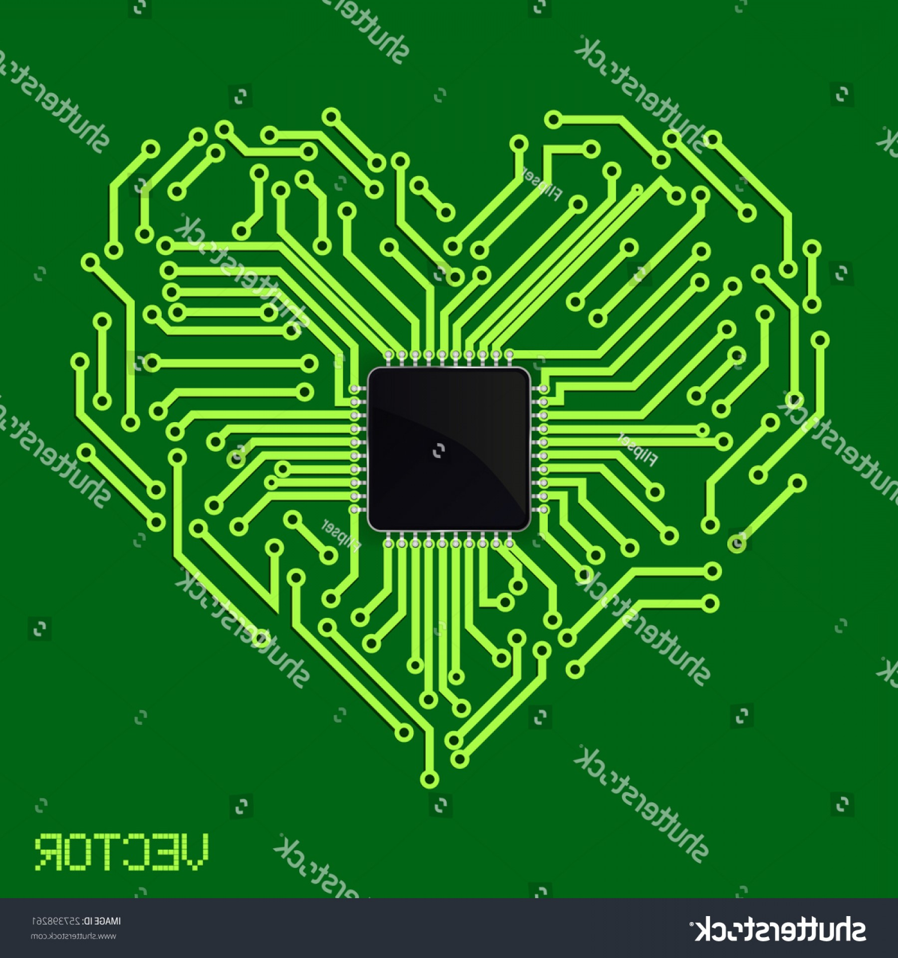Motherboard Vector With A Heart: Circuit Board Heart Electronic Background Processor
