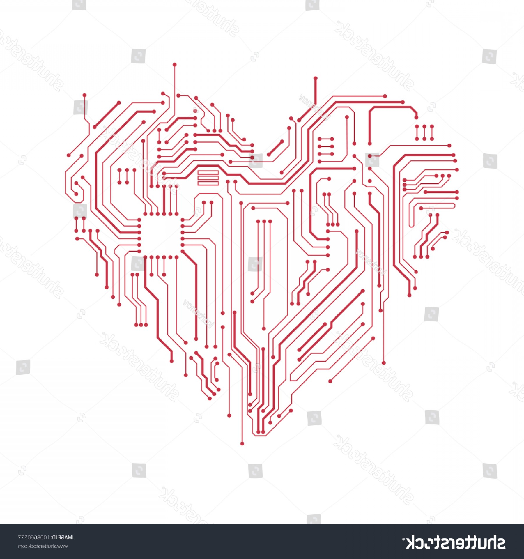 Motherboard Vector With A Heart: Circuit Board Heart Symbol Valentines Day