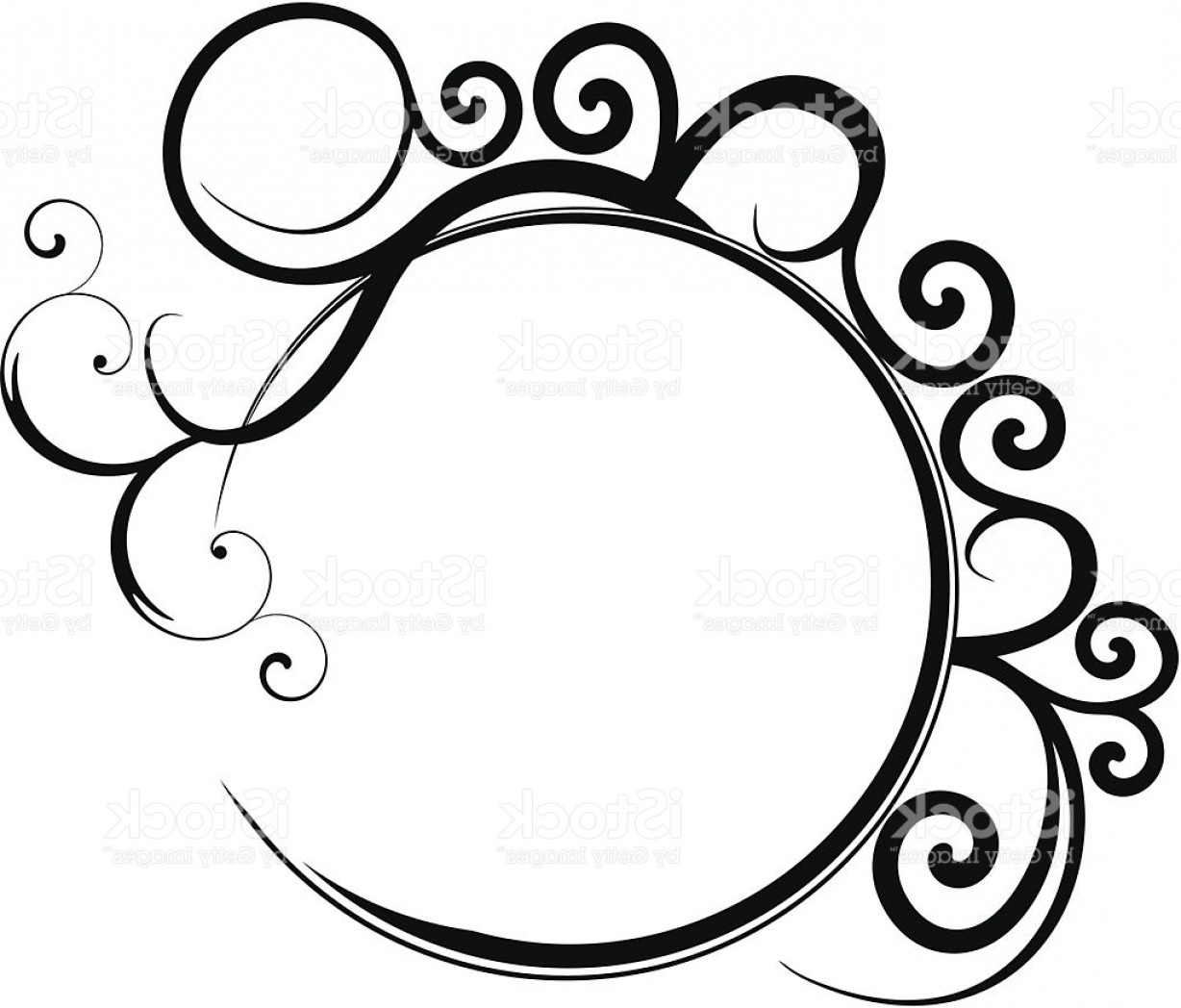 Filigree Oval Frame Vector: Circular Black Filigree Frame Gm