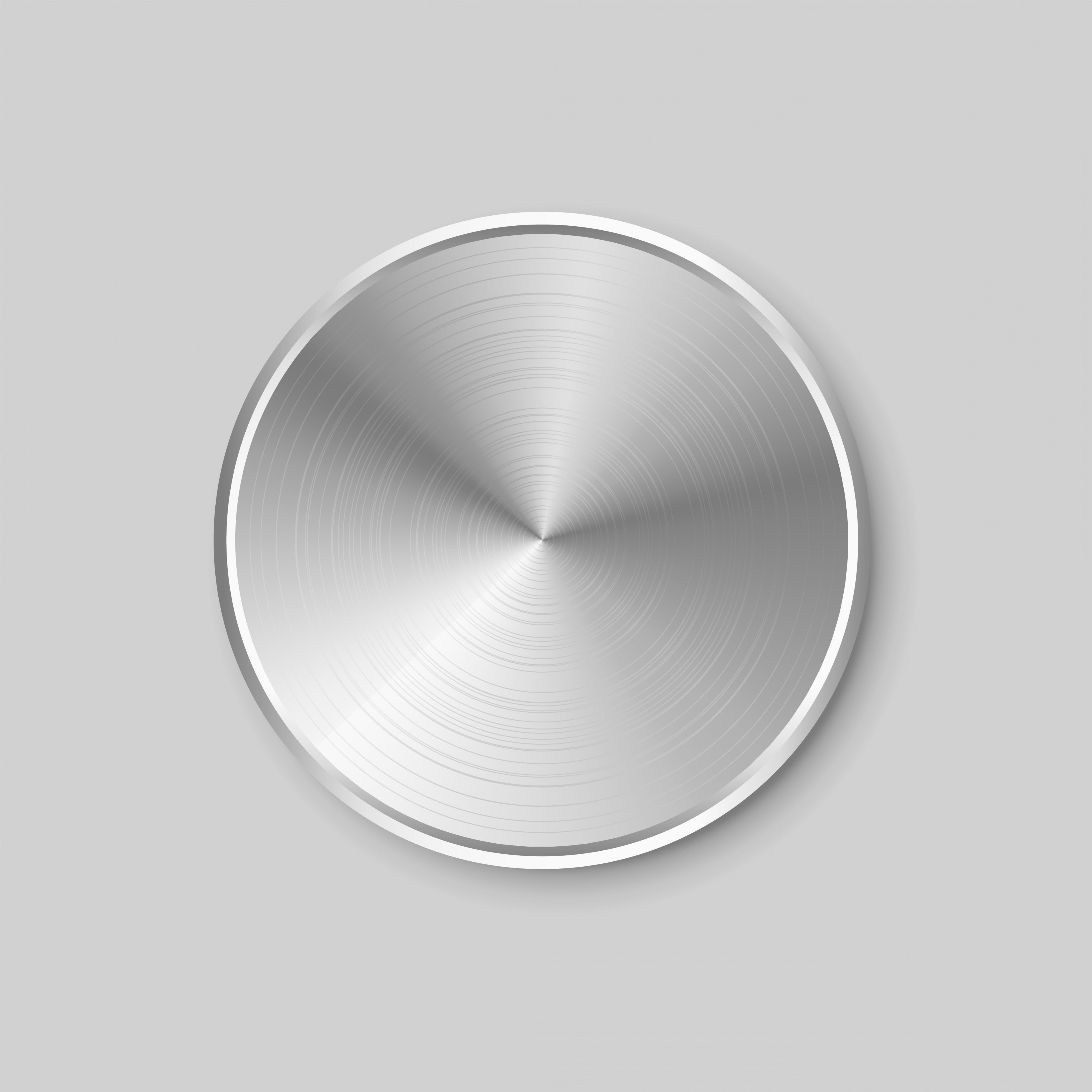 Metal Button Vector: Circular Realistic Metal Button With Brushed Steel Surface