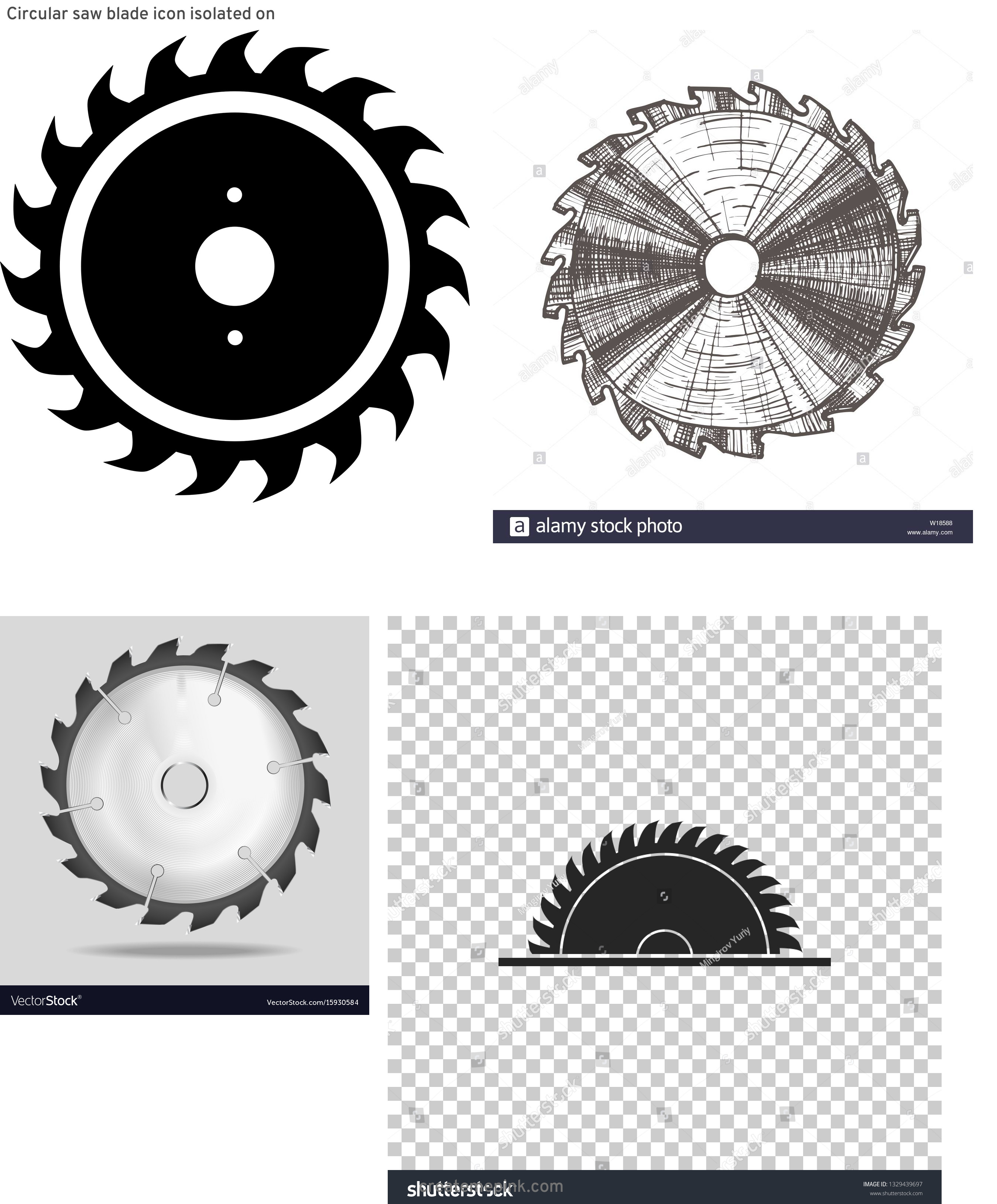 Round Saw Blade Vector: Circular Saw Blade Icon Isolated On