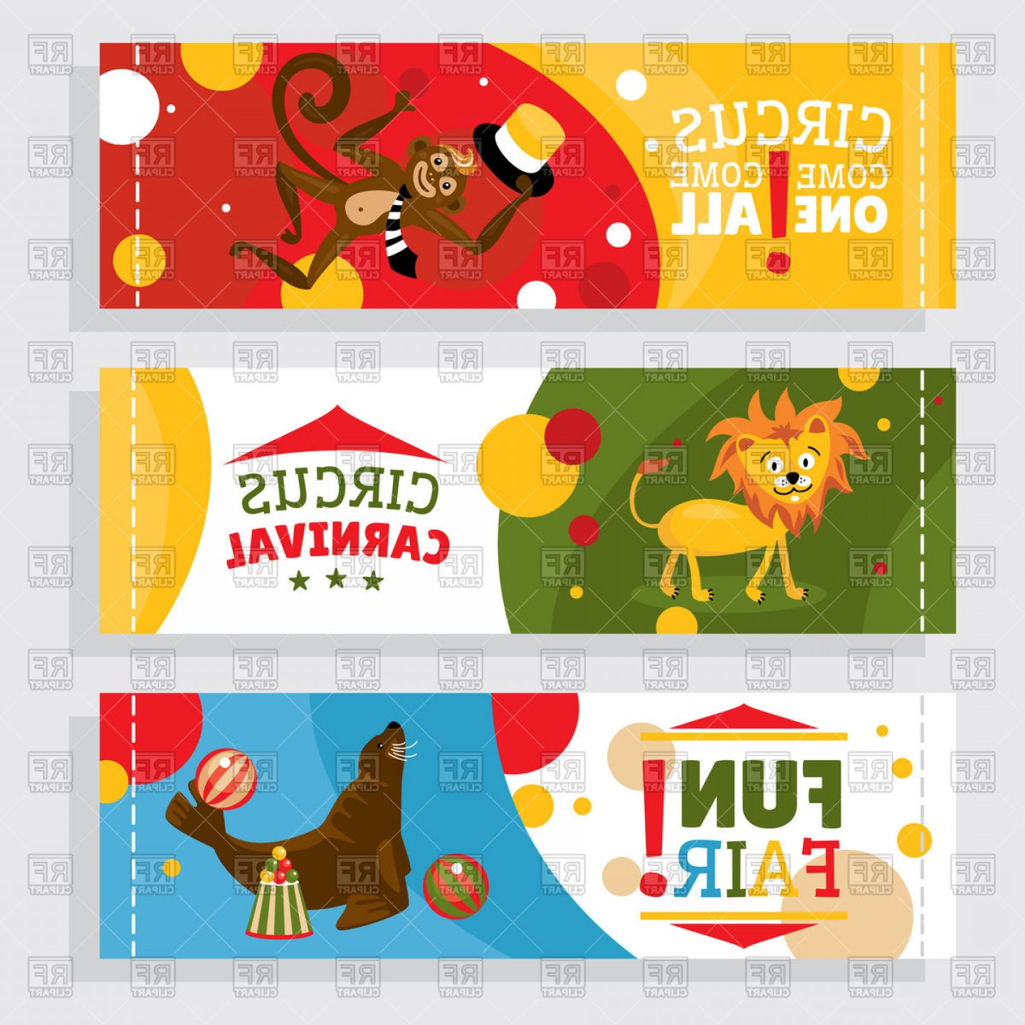 Circus Animals Vector Graphic: Circus Banners With Animals Lion Monkey Vector Clipart