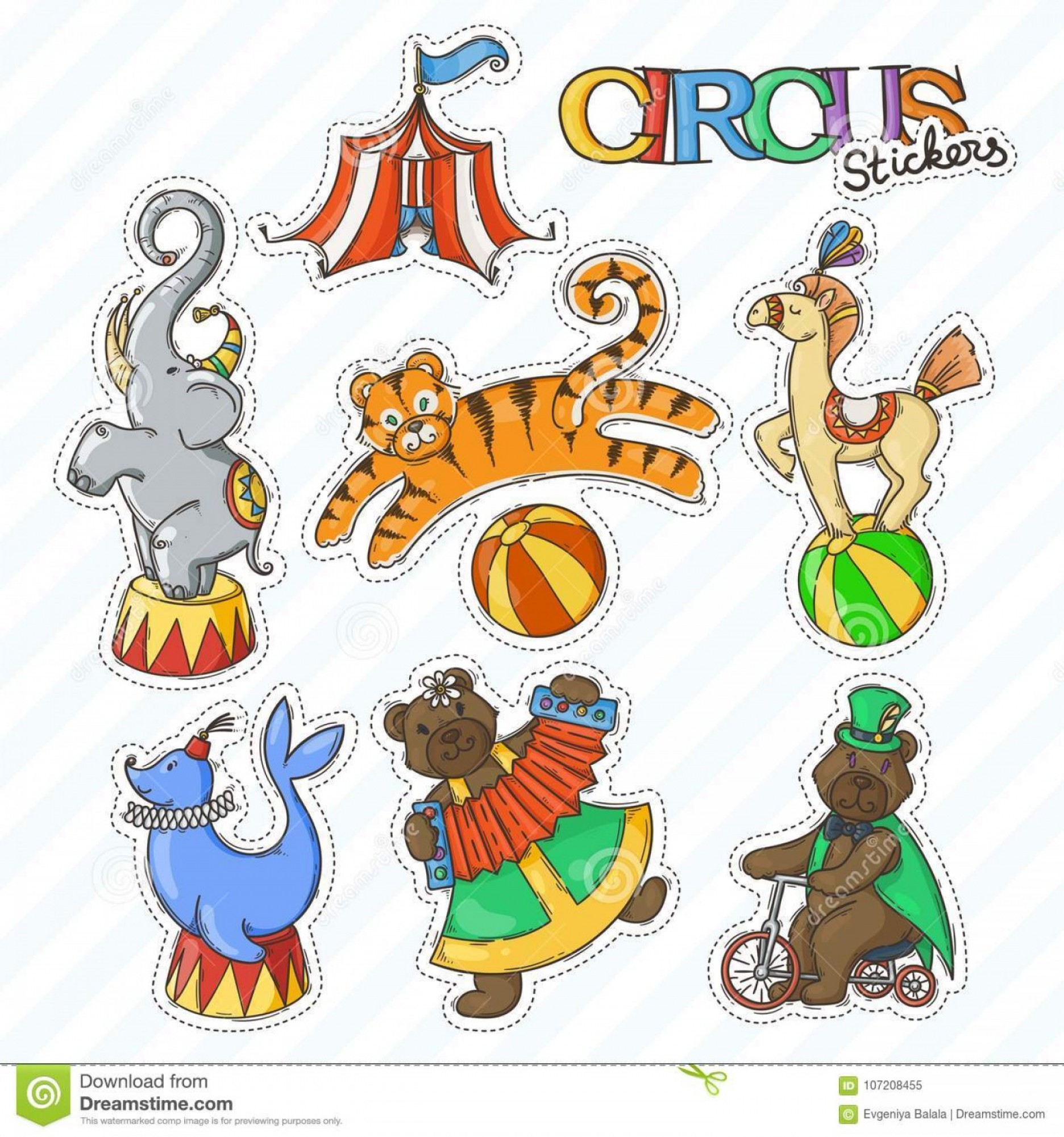 Circus Animals Vector Graphic: Circus Cartoon Icons Collection Chapiteau Tent Trained Wild Animals Vector Doodle Stickers Set Image
