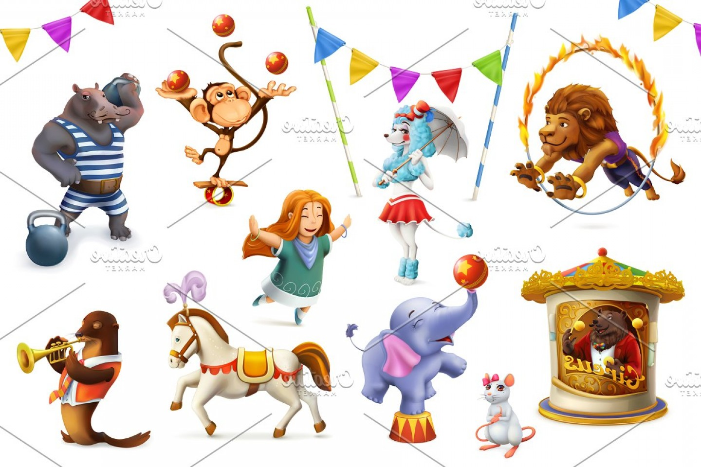 Circus Animals Vector Graphic: Circus Funny Animals Vector Set