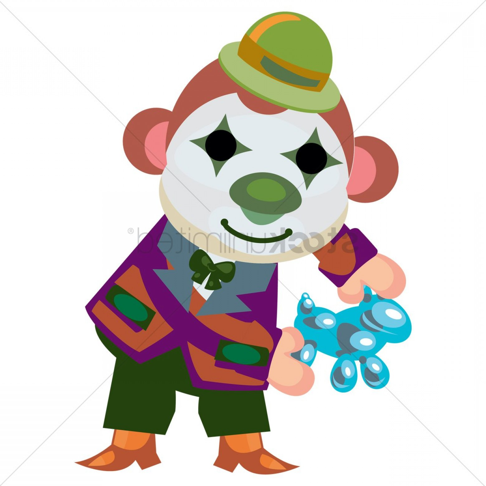 Circus Animals Vector Graphic: Circus Monkey With Clown Face Paint Making Balloon Animals