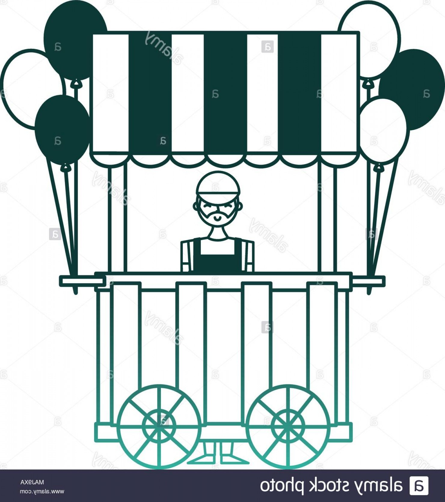 Salesman Vector: Circus Pumps Air Shop With Salesman Vector Illustration Design Image