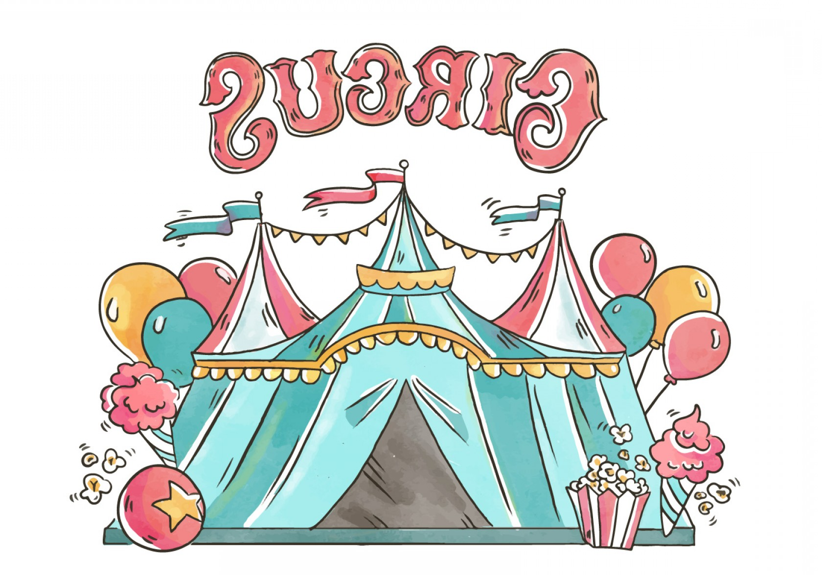 D Night Stanf Vector Graphic: Circus Tent With Balloons Pop Corn And Ice Cream